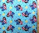 <キャラクター生地・布・USAコットン・直輸入正規ライセンス品>リロ&スティッチ#8(ブルー)【ディズニー】【生地…