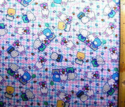 巾着袋(材料セット)・レシピ付き チアリーチャム(ブルーチェック)【体操服入れ・給食袋・お弁当袋・コップ袋が各1個(合計4個)作れます】( キャラクター 生地 材料キット )【ゆうパケット(メール便)OK】