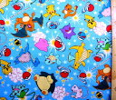 <キャラクター生地・布>ポケットモンスター(ブルー)#90【キャラクター】【生地】【布】【キャラクター生地】【入園】【入学】