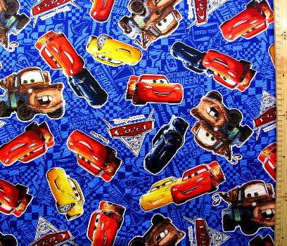 キャラクター 生地 布 Cars(カーズ)(紺)#26・ディズニー( 2018 )【生地】【布】【キャラクター生地】