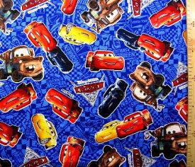 巾着袋(材料セット)・レシピ付き Cars(カーズ)(紺)#26【体操服入れ・給食袋・お弁当袋・コップ袋が各1個(合計4個)作れます】( キャラクター 生地 材料キット )【メール便(ゆうパケット)OK】