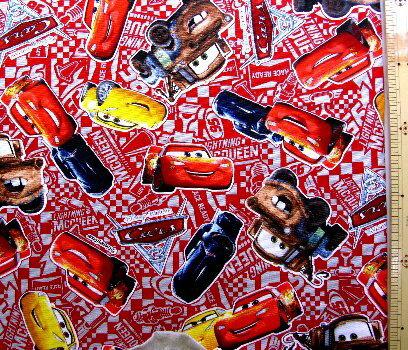 <キャラクター生地・布>Cars(カーズ)(赤)#26・ディズニー【キャラクター】【生地】【布】【キャラクター生地】