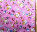 巾着袋(材料セット)・ヒミツのここたま(ピンク)#3【体操服入れ・給食袋・お弁当袋・コップ袋が各1個(合計4個)作れます】【クロネコDM便OK】