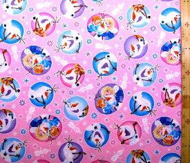 キャラクター 生地 アナと雪の女王 ( ピンク ) 柄番号7ディズニー( あな雪 アナ雪 アナ エルサ オラフ ディズニー )