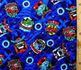 Q-プリント キルティング ( キルト ) 生地 車コレクション ( 紺 ) ( 車 乗り物 アメリカン かわいい おしゃれ 男の子 女の子 子供 入園 入学 )