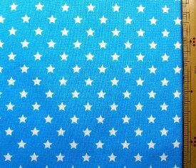プリント生地 スターライト ( ブルー ) ( 星 星柄 空 スター ドット かわいい おしゃれ 男の子 女の子 子供 入園 入学 )
