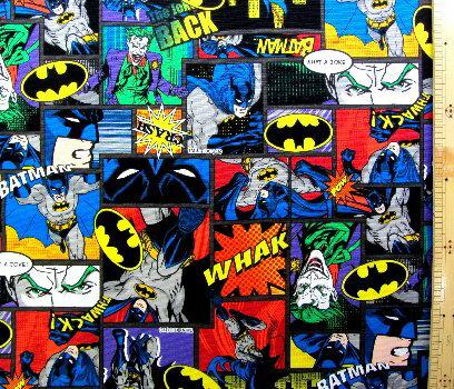 <キャラクター生地・布>アメリカン・コミックヒーロー(バットマン・グレー/パープル)#3【キャラクター】【生地】【布】【キャラクター生地】