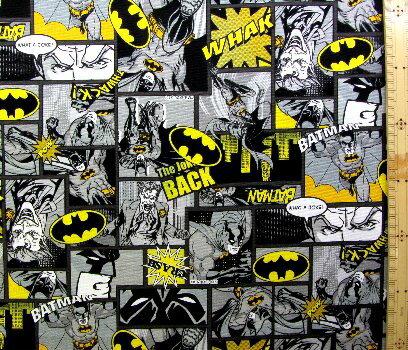 <キャラクター生地・布>アメリカン・コミックヒーロー(バットマン・グレー/イエロー)#3【キャラクター】【生地】【布】【キャラクター生地】
