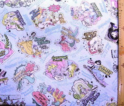<キャラクター生地・布>ディズニープリンセス(ラメグリッター付き・ブルー)#53【ディズニー】【生地】【布】【キャラクター生地】【入園】【入学】