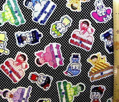 <キャラクター生地・布> おそ松さん×Sanrio Characters(黒/ドット)【キャラクター】【生地】【布】【キャラクター生地】【入園】【入学】