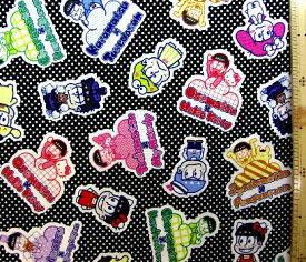 巾着袋(材料セット)・レシピ付き おそ松さん×Sanrio Characters(黒/ドット)【体操服入れ・給食袋・お弁当袋・コップ袋が各1個(合計4個)作れます】( キャラクター 生地 材料キット )【ゆうパケット(メール便)OK】
