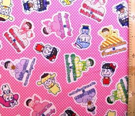 巾着袋(材料セット)・レシピ付き おそ松さん×Sanrio Characters(ピンク/ドット)【体操服入れ・給食袋・お弁当袋・コップ袋が各1個(合計4個)作れます】( キャラクター 生地 材料キット )【ゆうパケット(メール便)OK】