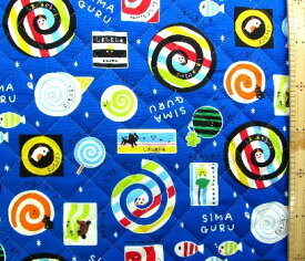 しましまぐるぐる(青)(材料セット レシピ付き・キルティング)レッスンバック(またはピアニカケース)とシューズケース用手作りキット(キャラクター 生地 材料キット )【ゆうパケット(メール便)OK】
