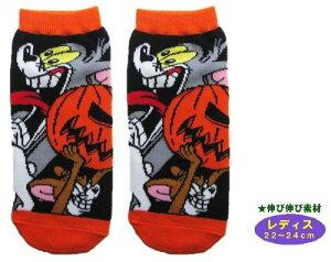 キャラクター・ソックス(靴下)・トムとジェリー(レディス22〜24cm)(かぼちゃ・黒/オレンジ)【キャラクター・ソックス】【メール便(ゆうパケット)OK】
