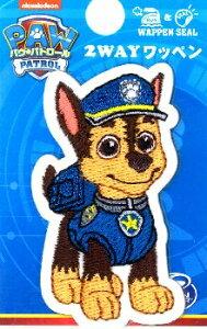 キャラクター 刺しゅう ワッペン パウパトロール ( Paw Patrol ) ( メーカー表記小 )( チェイス )( 大きさ 約5.5×3cm 1枚入り ) ( キャラクターワッペン アイロン シール おしゃれ マーク キ