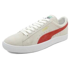 スニーカープーマPUMAスウェード90681ホワイト/オレンジメンズレディースシューズ靴18FA