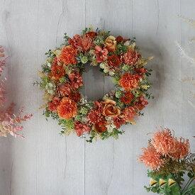 リース 造花 ピンクッションとバラのリース(オレンジ カーネーション 入り)リース 結婚式 クリスマス プレゼント クリスマスプレゼント 贈り物 誕生日 フラワーギフト 花 母の日