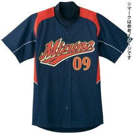 ナショナルチームモデルシャツ(野球)(14ネイビー×レッド×グレーパイピング)【MIZUNO】ミズノ野球 ウエア ユニフォームシャツ(52MW08314)*26
