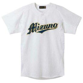 『ミズノプロ』シャツ/セミハーフボタンタイプ(メッシュ)(01ホワイト)【MIZUNO】ミズノ野球 ウエア ユニフォームシャツ(52MW17201)*25