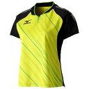 ゲームシャツ(2015年日本代表モデル)(レディース)(37ライムグリーン×ブラック)【MIZUNO】ミズノ卓球 ウエア(82JA530137)*26