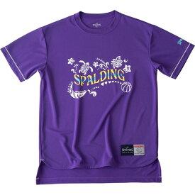 レディース Tシャツーポリネシアンspalding(スポルディング)バスケットハンソデTシャツ(smt190280-ppl)*11