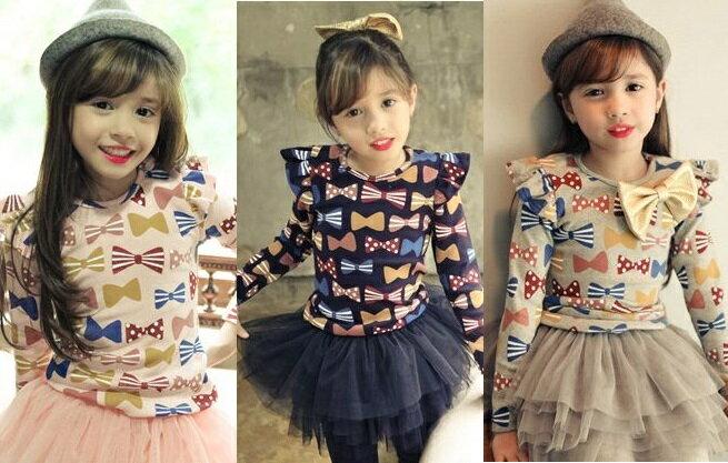 韓国子供服 Pastel・パステル 3color☆りぼん柄 ショルダーフリル 長袖カットソー