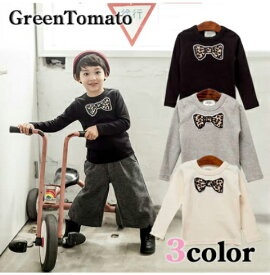 韓国子供服 GreenTomato(グリーントマト)レオパード蝶ネクタイワッペン 長袖Tシャツ