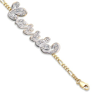 And The City Carrie Sarah Jessica Parker K10 K14 10p24oct15 Yellow White Gold Natural Diamond Name Bracelet Single Plate