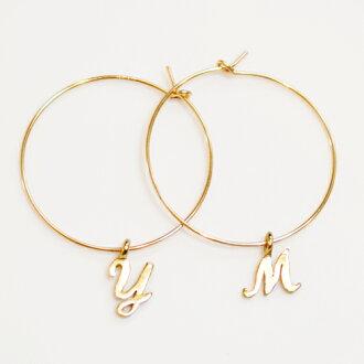 ★ ★ プチイニシャル K14GF (gold filled) hoop earrings 10P05Apr14M