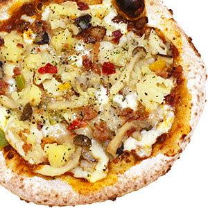 冷凍ピザ『3種のきのことベーコンポテトのデミグラミートソースピッツァ』 お試しピザセットと同梱で送料無料!石窯薪木で焼きあげるピザ職人手作りの石窯ナポリピッツァです!宅配ピザよ