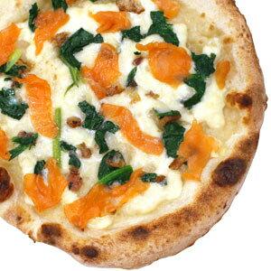 冷凍ピザ『信州サーモンとほうれん草のピッツァ』 お試しピザセットと同梱で送料無料!石窯薪木で焼きあげるピザ職人手作りの石窯ナポリピッツァです!宅配ピザよりピザ通販![ピザ pizza 冷