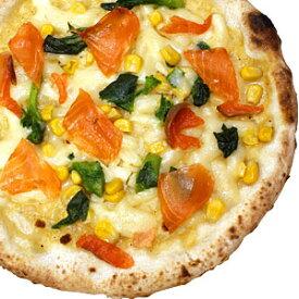 冷凍ピザ『信州サーモンと菜の花のカルボナーラピッツァ』 お試しピザセットと同梱で送料無料!石窯薪木で焼きあげるピザ職人手作りの石窯ナポリピッツァです!宅配ピザよりピザ通販![ピザ pizza 冷凍]
