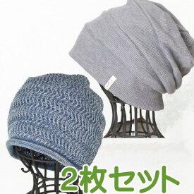 【医療用ニット帽子 レディース オーガニックコットン】シームレスニットライトブルー杢と段々ワッチ杢グレー