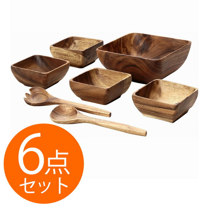 bowl salad bowl wooden tableware bowl tableware western instrument wooden salad bowl set square bowl dessert bowl spoon fork wood large set 6 pieces set pun