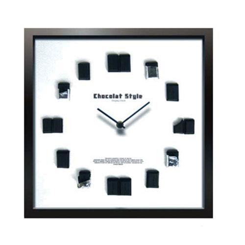 『 ショコラ Clock 掛け時計 』掛時計 掛時計 壁掛時計 壁掛け時計 アートクロック インテリアクロック アートパネル チョコレート モダン おしゃれ かわいい 木製 スイープムーブメント ほとんど音がしない ガラス 四角 引っ越し祝い プレゼント
