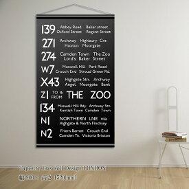 『タペストリー Tapestry Bus Roll Design LONDON』タペストリー バスサイン ロールサイン 壁掛け 壁飾り ブルックリン ポスター ブラック モノトーン 黒 ウォールデコ アメリカン おしゃれ 英字 飾る 記念 ギフト
