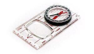 【メール便配送可能】コンパス 方位磁石 方位磁針 ルーペ付 G-504 日本製 クリアー光学