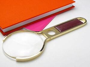 高級ゴールドルーペ 日本製 2.5倍 75mm 高倍率5倍小玉レンズ付 鮮明白ガラスレンズ ハンドルルーペ 手持ち 拡大鏡 虫眼鏡 虫めがね 天眼鏡 本金メッキ真鍮枠フレーム 新聞 読書 辞書 老眼鏡い