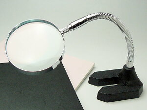 スタンド台付 読書用ルーペ 日本製 2.5倍 90mm ガラスレンズ 角度自由自在 おしゃれ 拡大鏡 フレキシブルアーム 虫眼鏡 虫めがね 天眼鏡 両手作業 新聞 辞書 老眼鏡いらずの虫メガネ 母の日 父