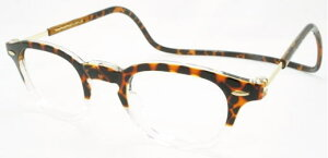 老眼鏡 首かけ 正規品 クリックリーダー ヴィンテージ 磁石 おしゃれ メガネケース付 トートイス/クリアー