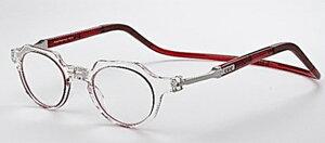 老眼鏡 首掛け 正規品 クリックリーダー メトロ 磁石 おしゃれ メガネケース付 新色インサイドレッド
