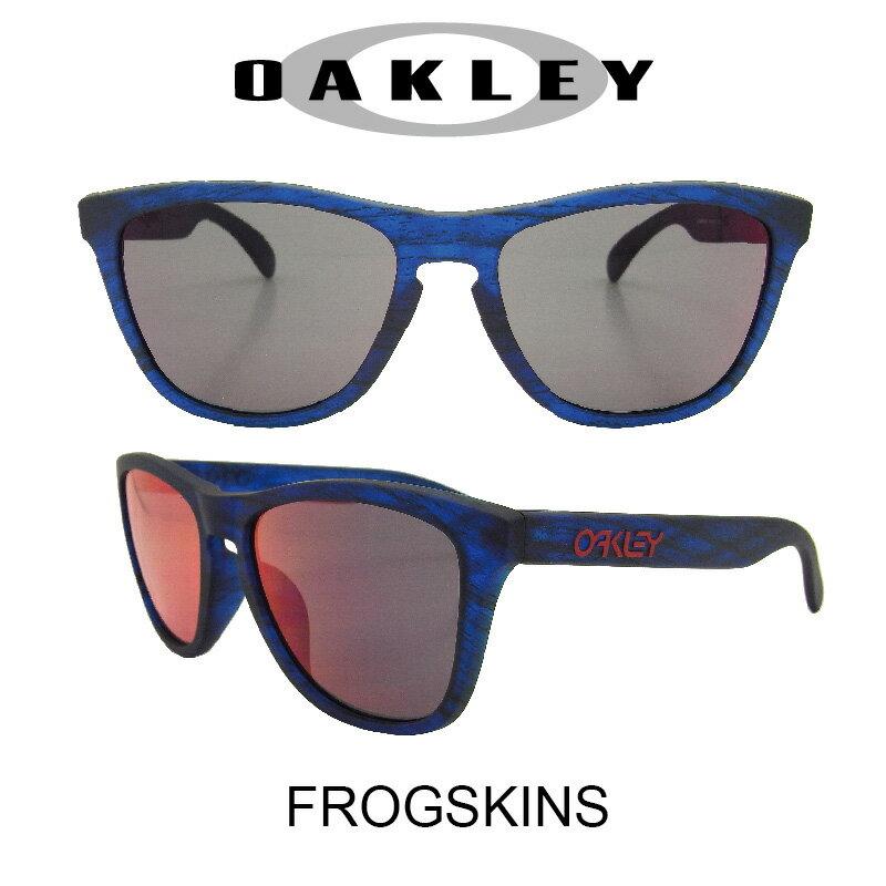 【国内正規品】(アジアンフィット)OAKLEY オークリー サングラス フロッグスキン マットブルーウッドグレイン/トーチイリジウム 野球 ゴルフ(Sunglasses FROGSKINS 9245-5454 Matte Blue Woodgrain/Torch Irid)