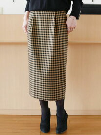 【 SALE 】 Munich(ミューニック)ブロックチェック コクーンタイトスカート【 レビューキャンペーン対象商品 】