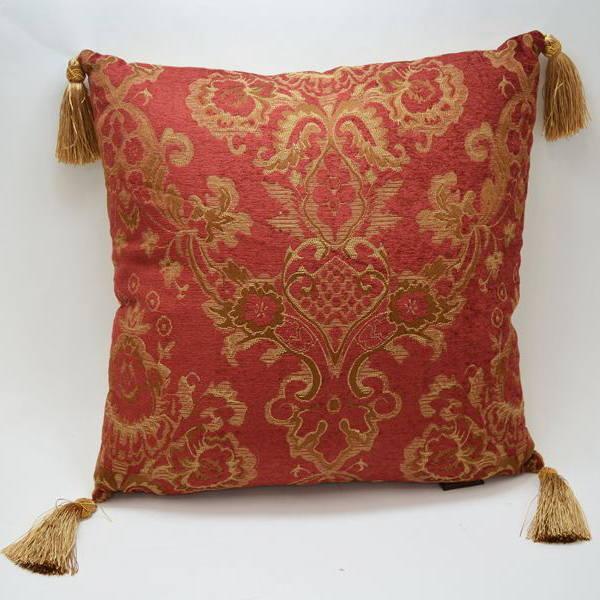 クッション バカラ Pillow Bacara 房付き レッド ゴールドサイズ40×40 クッションカバー 取外可 JENNIFER TAYLORソファークッション アンティーク 雑貨