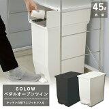 【リス】SOLOWペダルオープンツイン45L(ホワイトまたはブラック)【RISUHOME&HOMEダストボックスゴミ箱】【送料無料】