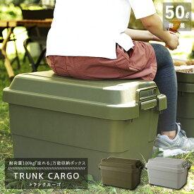 【トランクカーゴ】TC-50 スタンダードタイプ コンテナ収納 容量50L (グリーンまたはグレー) 【リス 収納ケース】【送料無料】