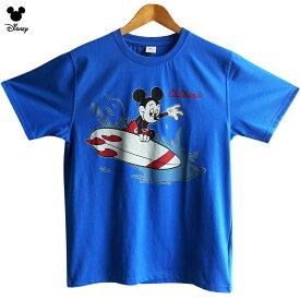 送料無料 Tシャツ ミッキー ディズニー ミッキーマウス サーフィン メンズ レディース USA 波乗り ビンテージ レトロ サーファー ビッグサイズ オーバーサイズ disney ブタピンク ペアルック 双子コーデ かわいい TDL アメコミ