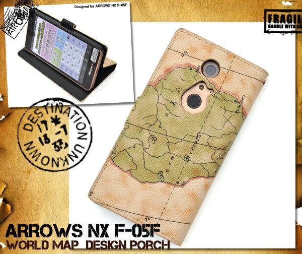 ARROWS NX F-05F用ワールドデザインケースポーチ(ドコモ docomo f05f スマホケース スマホ アローズ NX ケース カバー ポーチ 手帳型 ブック型 二つ折り 横開き 世界地図 マップ ワールド )[M便 1/3]