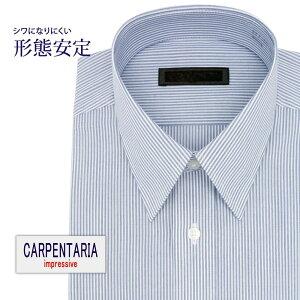ワイシャツ 長袖 形態安定 メンズ Yシャツ カッターシャツ ビジネス 標準 CARPENTARIA レギュラーカラー ネイビー×ホワイトストライプ [P12CAR401]