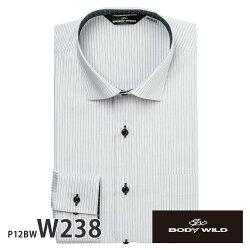 ワイシャツ長袖形態安定メンズスリムBODYWILDノーヨーク仕様ストレッチ別生地[P12S1BW02]
